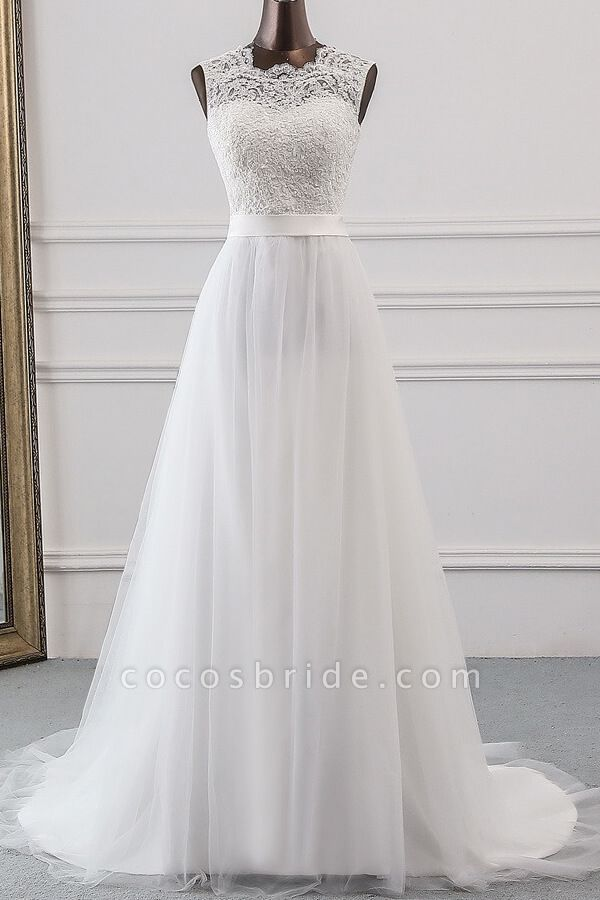 Graceful Lace-up Tulle A-line Wedding Dress