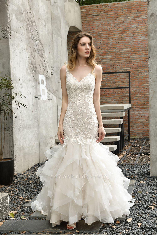 Gorgeous Appliques Mermaid Organza Wedding Dress