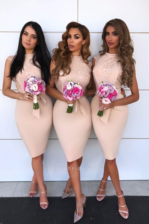 Elegnat Lace Kength Length Sheath Bridesmaid Dress