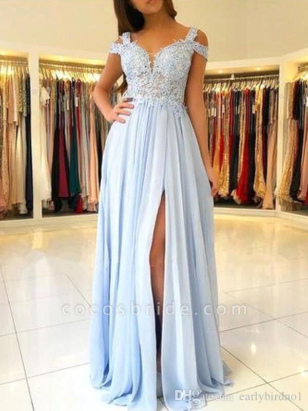 Chic Straps Chiffon A-line Evening Dress