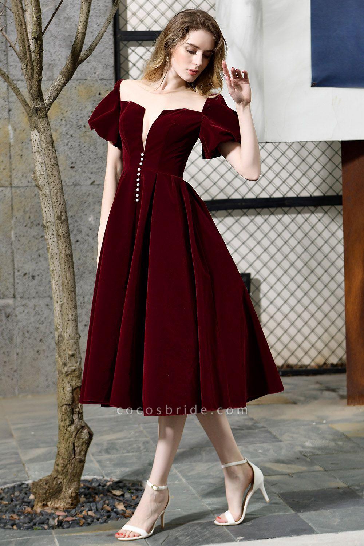 Burgundy Velvet Bubble Sleeve V-neck Short Prom Dress