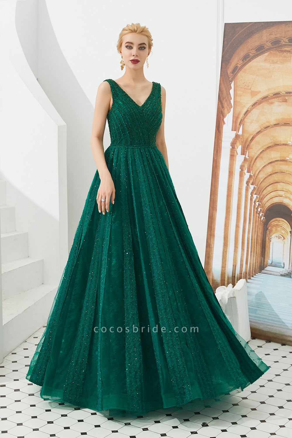 Awesome V-neck Tulle A-line Prom Dress