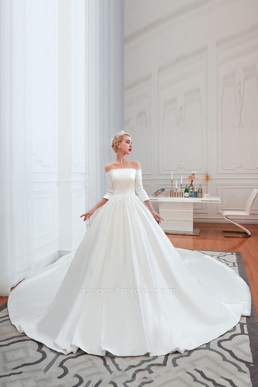 Off Shoulder Lace-up Satin A-line Wedding Dress
