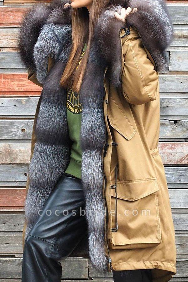 Winter Fur-trimmed Long Faux Fur Coat