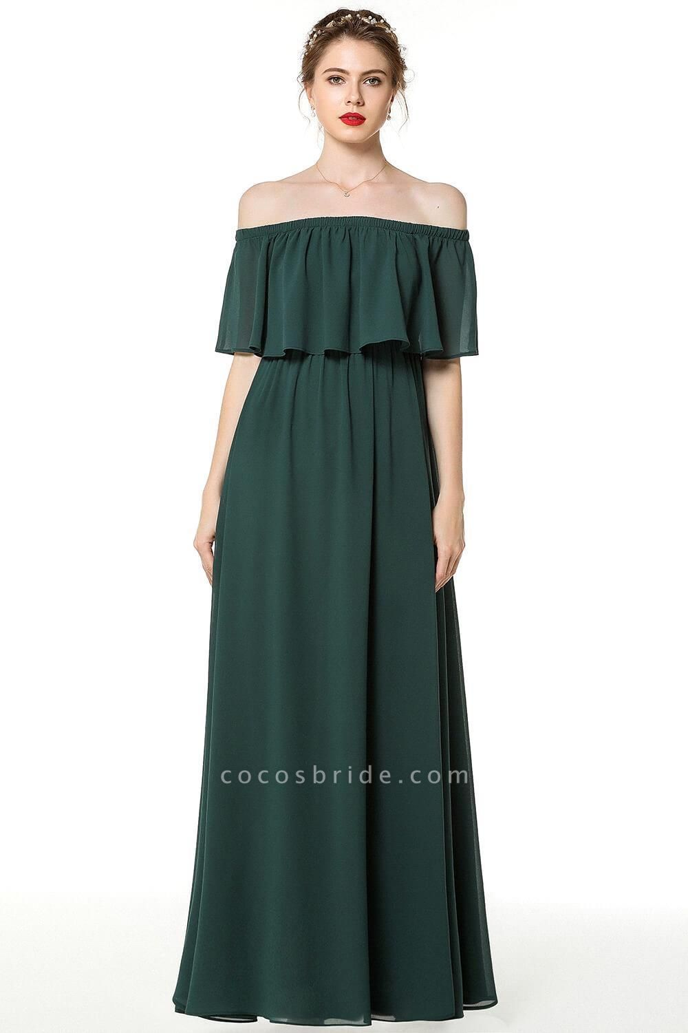 Pink A-line Long Off-the-shoulder Bridesmaid Dresses with Sleeves