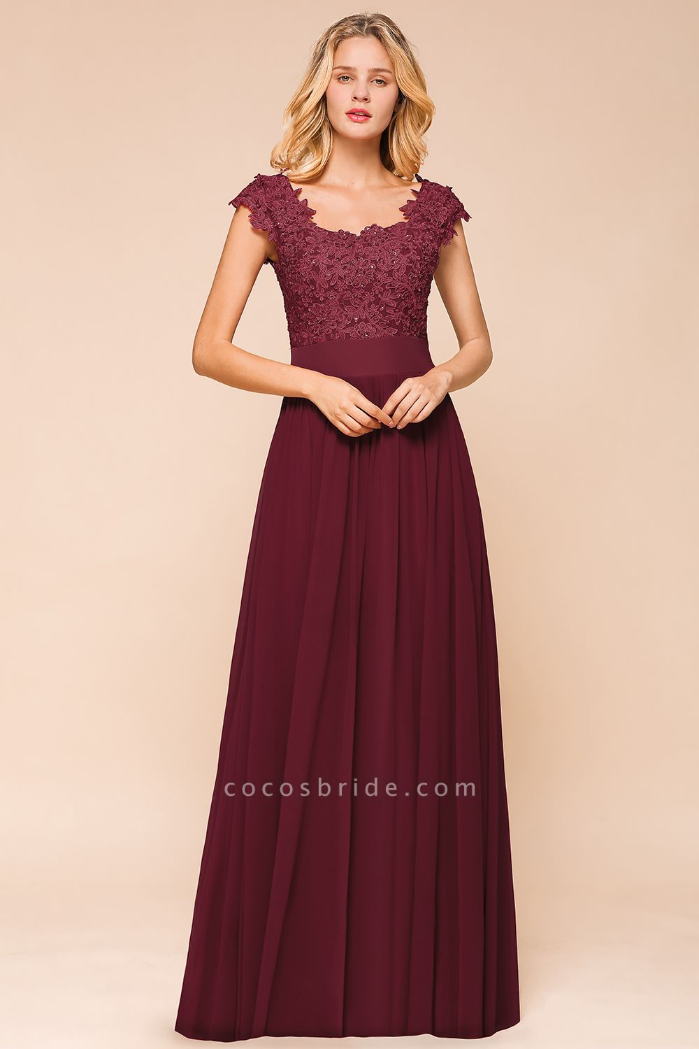 Burgundy Cap sleeves Lace Evening Gowns with Appliques