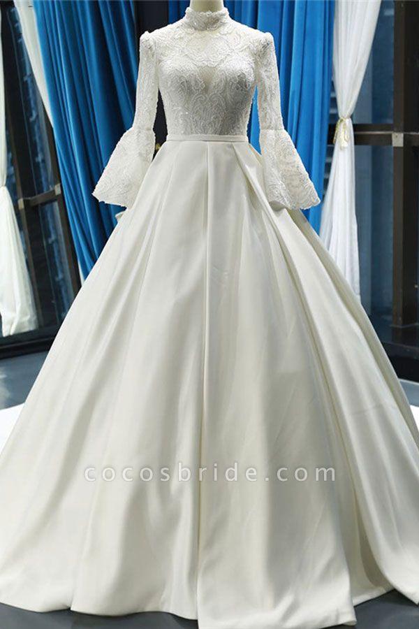 Elegant High Neck Long Sleeve Satin Wedding Dresses