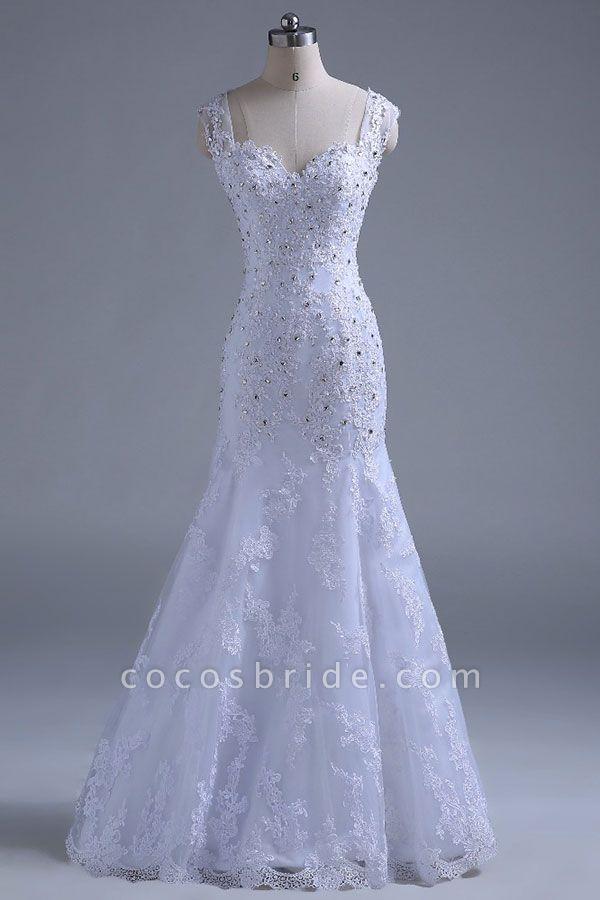 Beading Tulle Mermaid Floor Length Wedding Dress