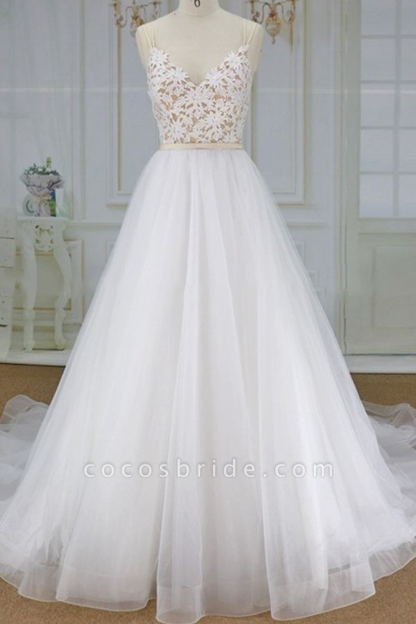 Applique Spaghetti Strap A-line Tulle Wedding Dress