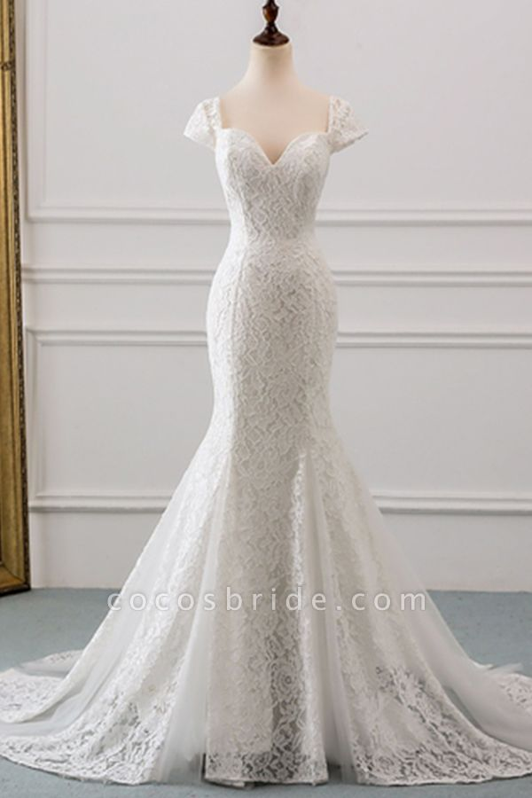 Sweetheart Short Sleeve Lace Mermaid Wedding Dress