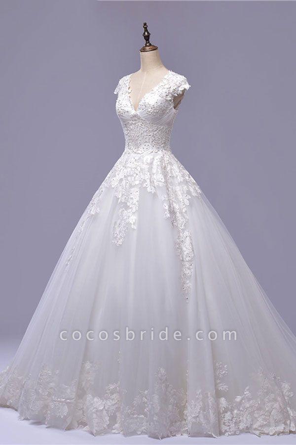 V-Neck Cap Sleeve Lace-up Tulle Wedding Dress