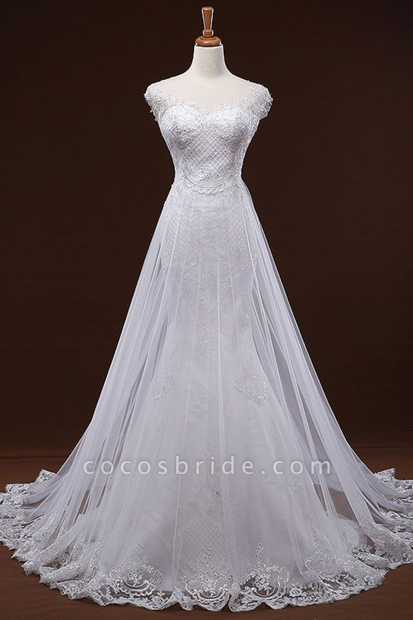 Sequine Appliques Tulle Mermaid Wedding Dress