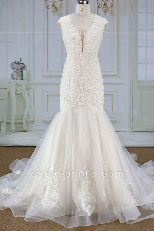 Awesome Appliques Tulle Mermaid Wedding Dress