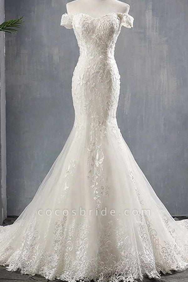 Applique Off Shoulder Lace-up Mermaid Wedding Dress