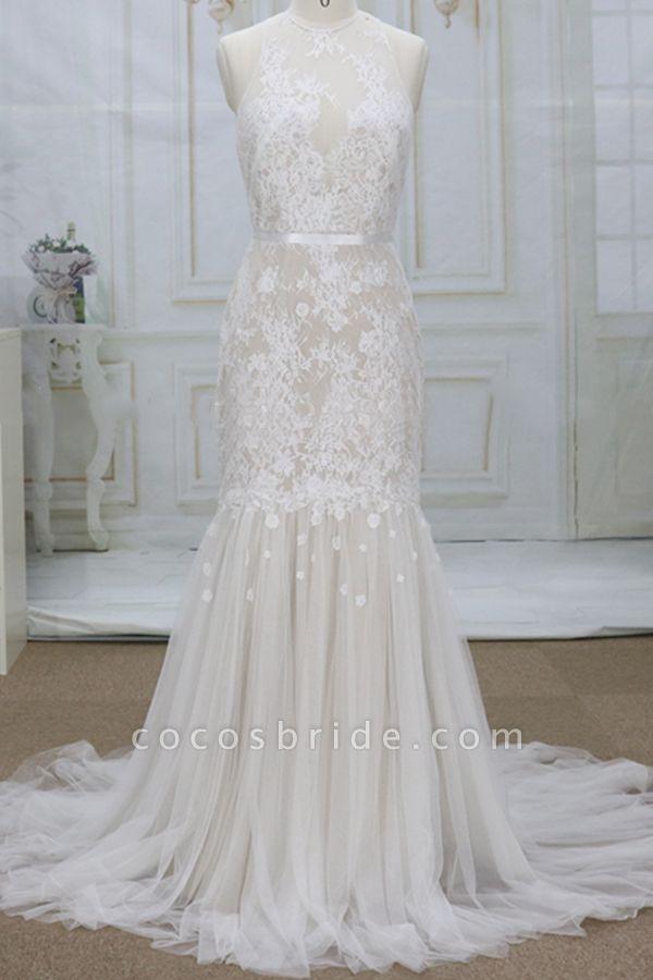 Amazing Appliques Tulle Mermaid Wedding Dress