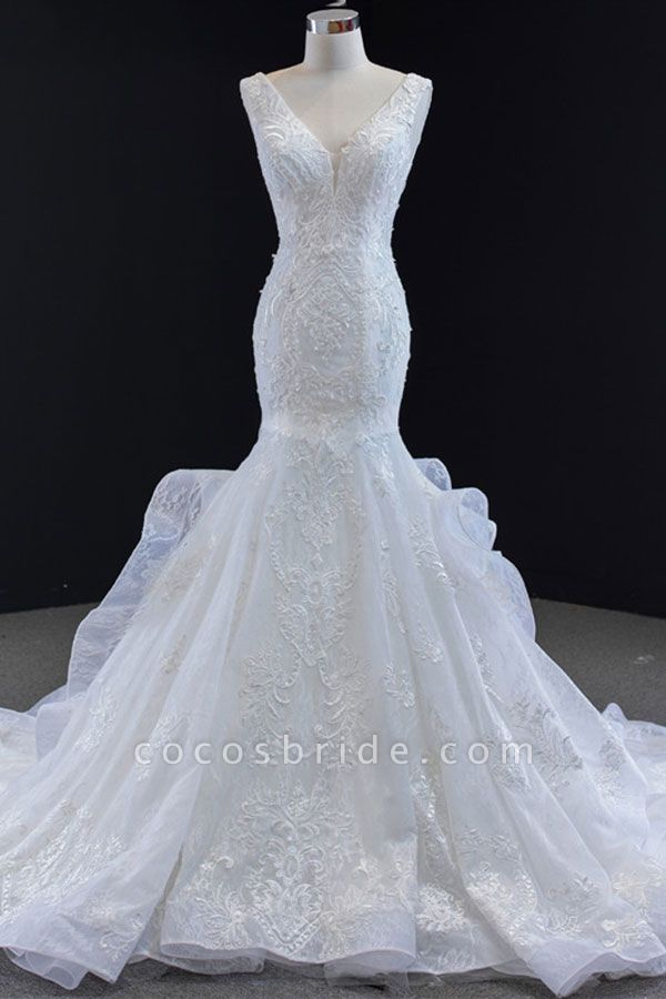 Graceful Lace-up Appliqes Mermaid Wedding Dress