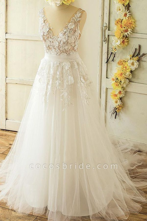 Latest V-neck Appliques Tulle A-line Wedding Dress