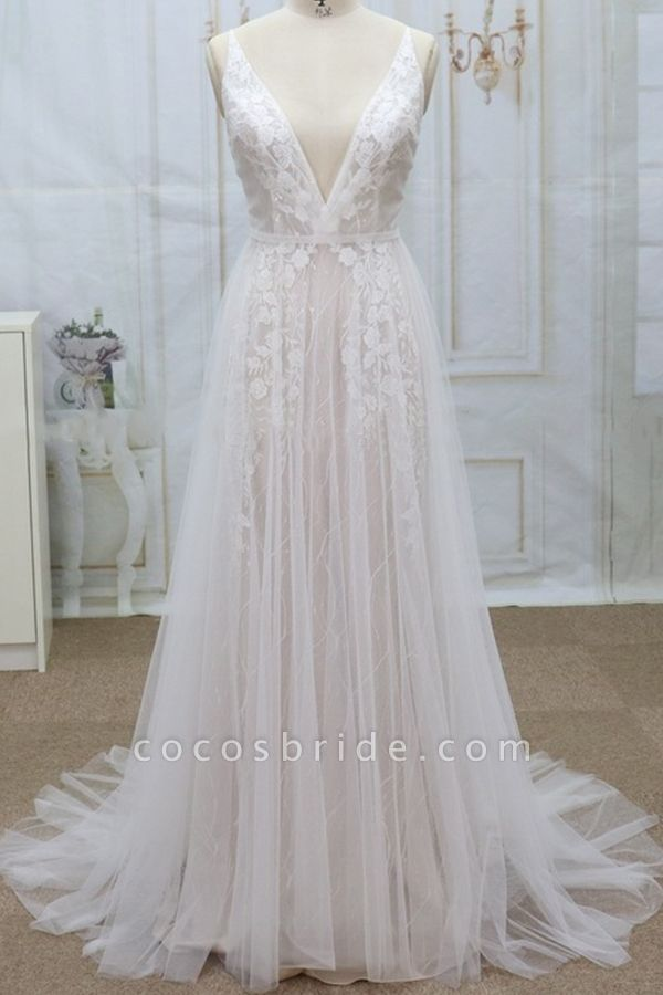 Spaghetti Strap V-neck Lace Tulle Wedding Dress