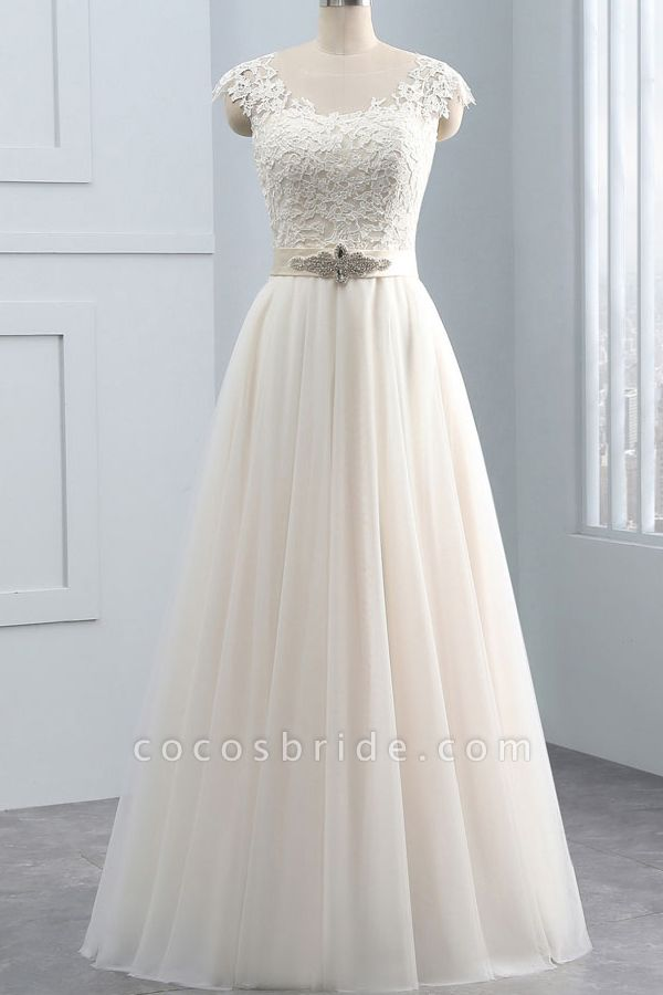 Elegant Cap Sleeve Lace Tulle A-line Wedding Dress