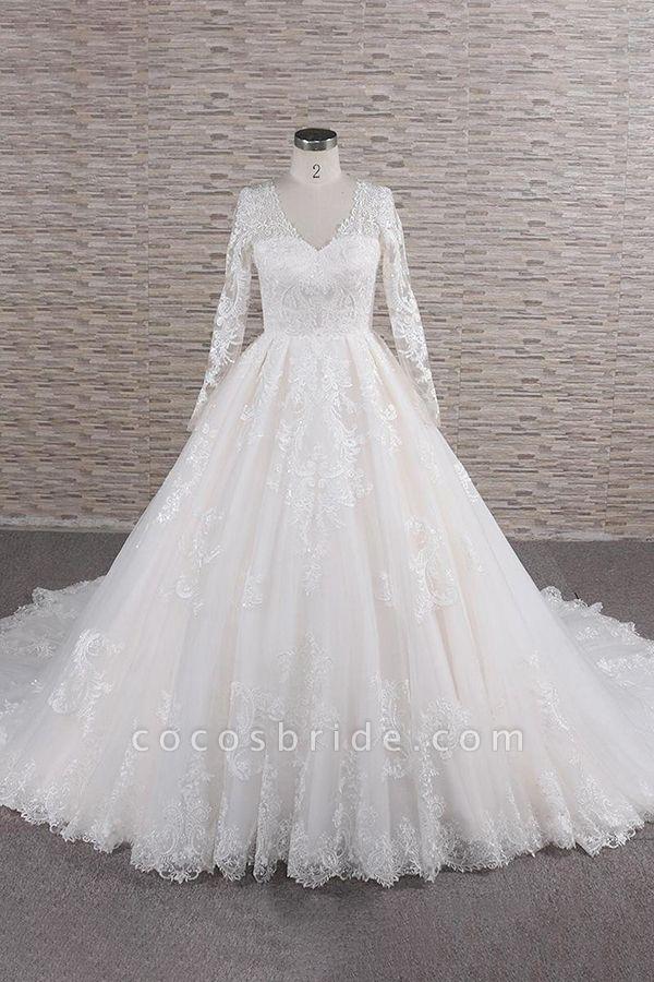 Graceful V-neck Long Sleeve Appliques Wedding Dress