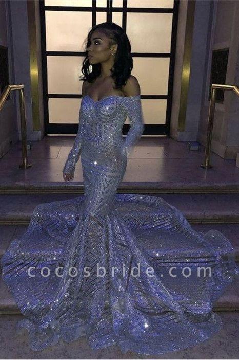 Long Sleeve Strapless Sequins Train Mermaid Prom Dresses