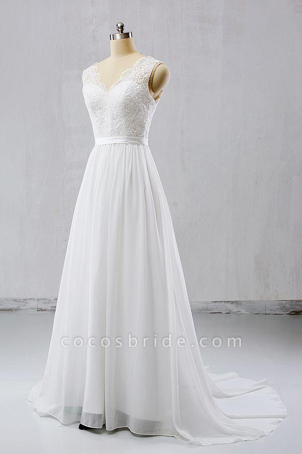V-neck Lace Chiffon Flowy A-line Wedding Dress