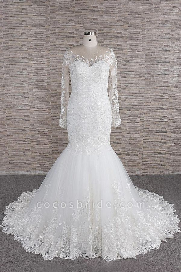 Graceful Appliques Long Sleeve Mermaid Wedding Dress