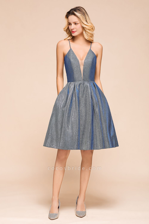 Glitter Spaghetti Strap A-line Short Prom Dress