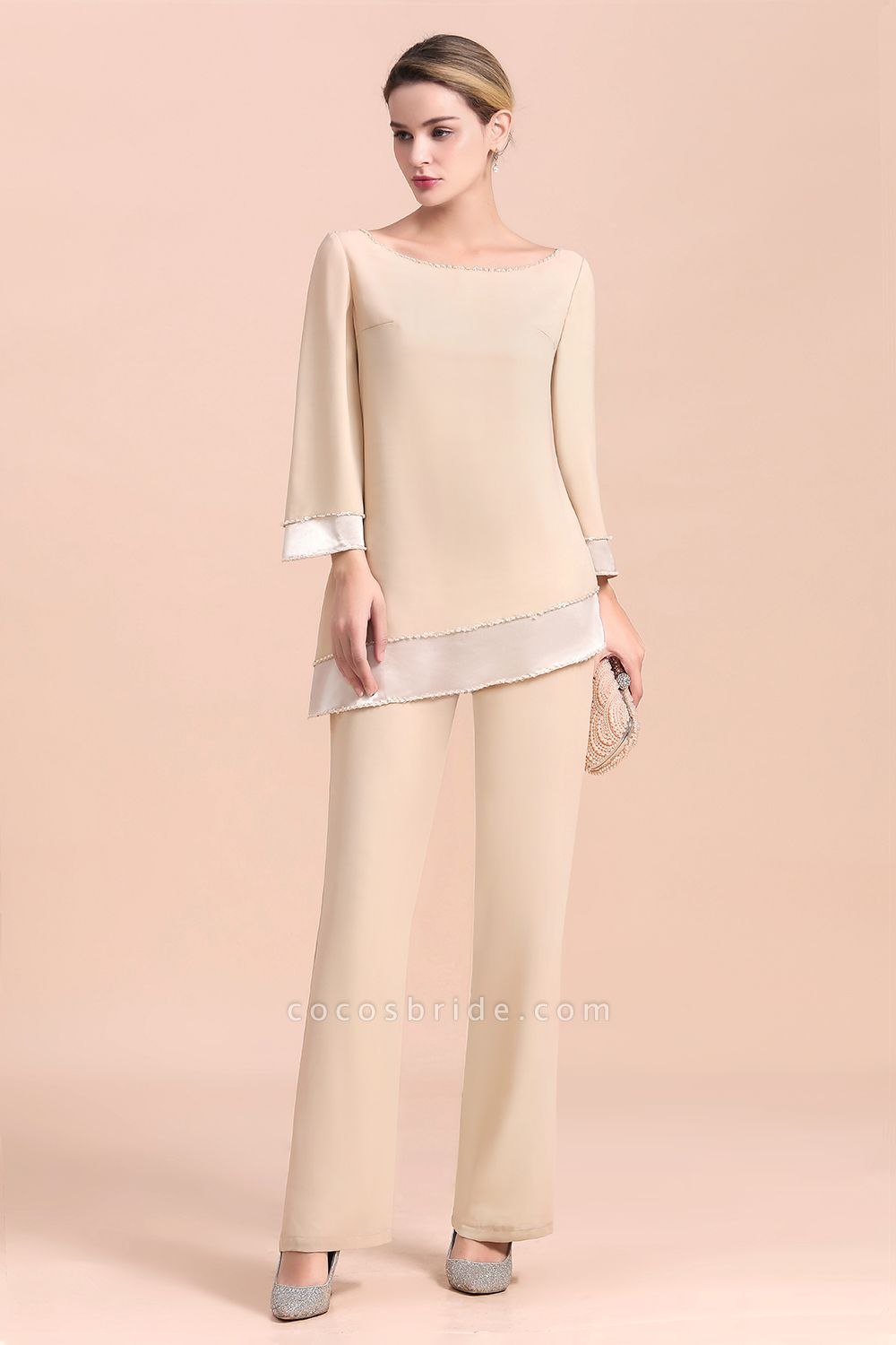 Chic Champagne Chiffon Long Sleeve Mother of Bride Jumpsuit