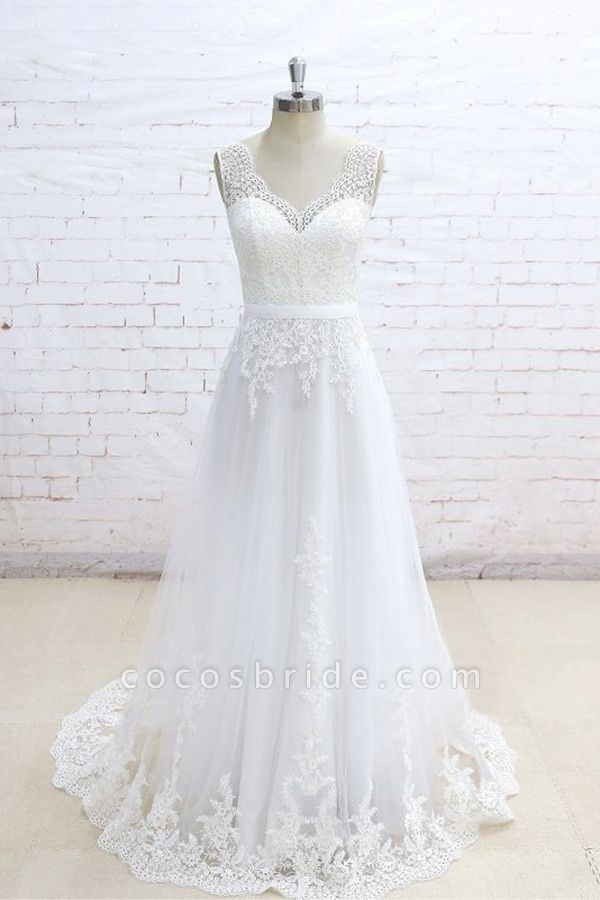Graceful Appliques V-neck Tulle A-line Wedding Dress