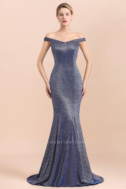 Stunning Bling Sweep Train Mermaid Long Prom Dress