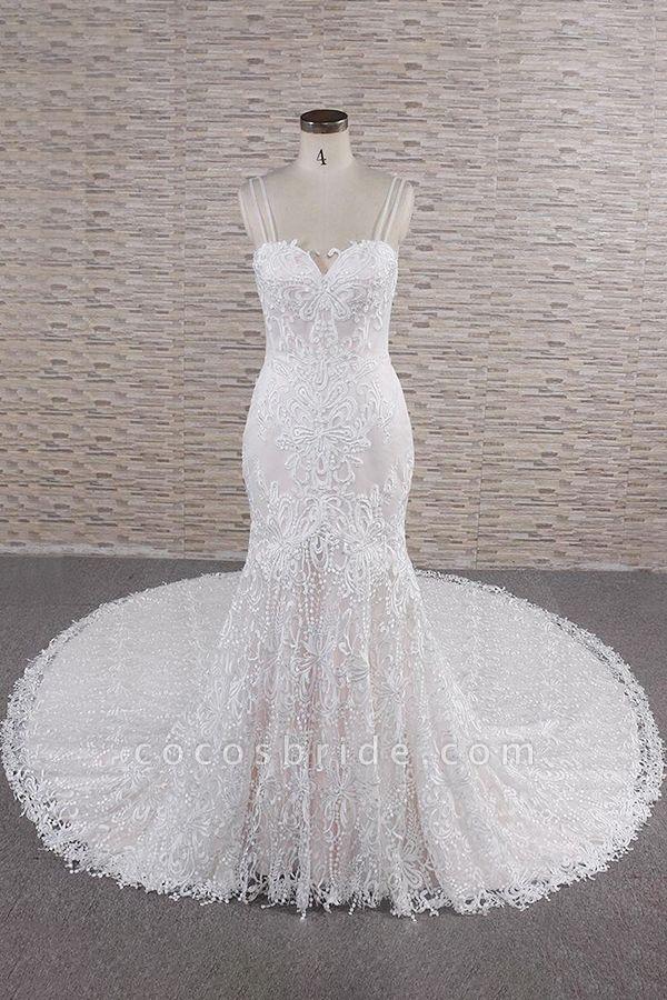 Chic Spaghetti Strap Appliques Mermaid Wedding Dress