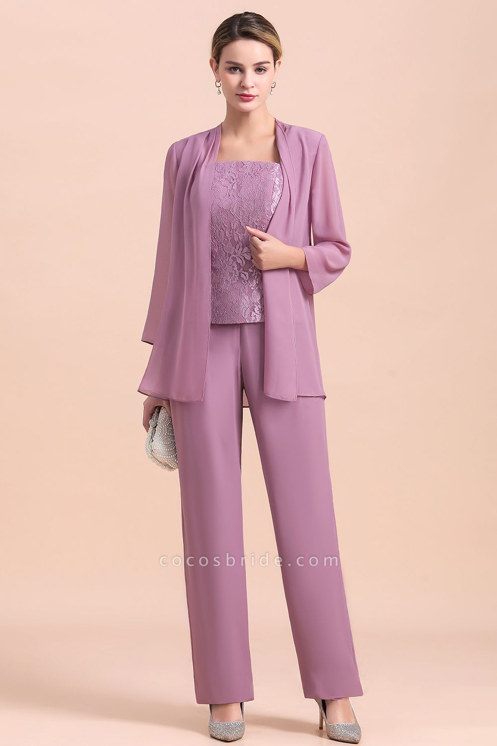 Elegant Lace Cap Sleeves Chiffon Mother of Bride Jumpsuit With Wrap