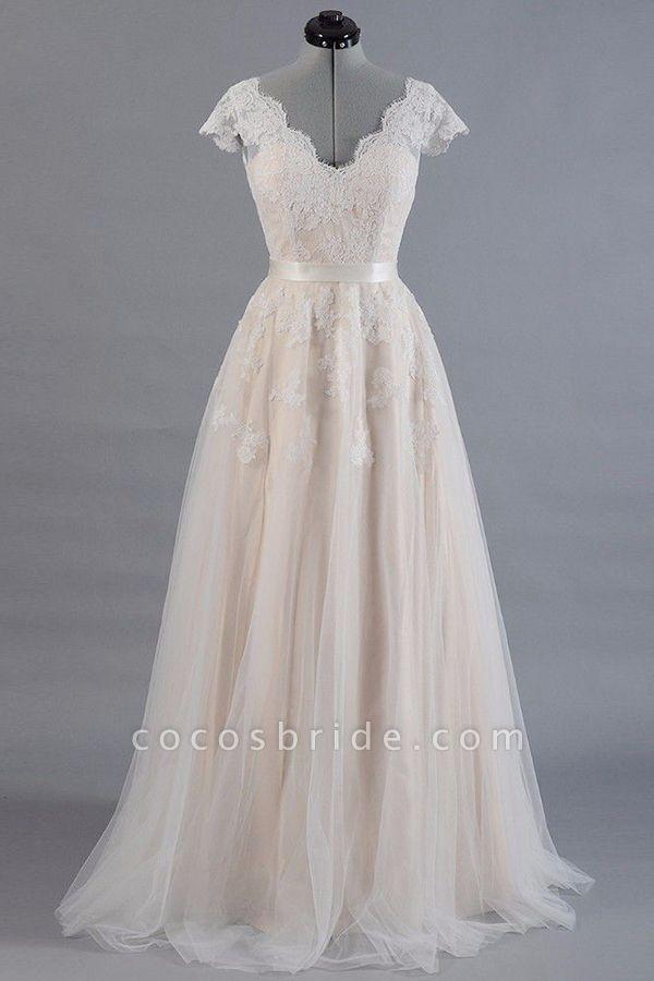 Cute Cap Sleeve V-neck Lace Tulle Wedding Dress