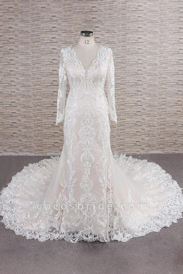 Chic Long Sleeve Appliques Mermaid Wedding Dress