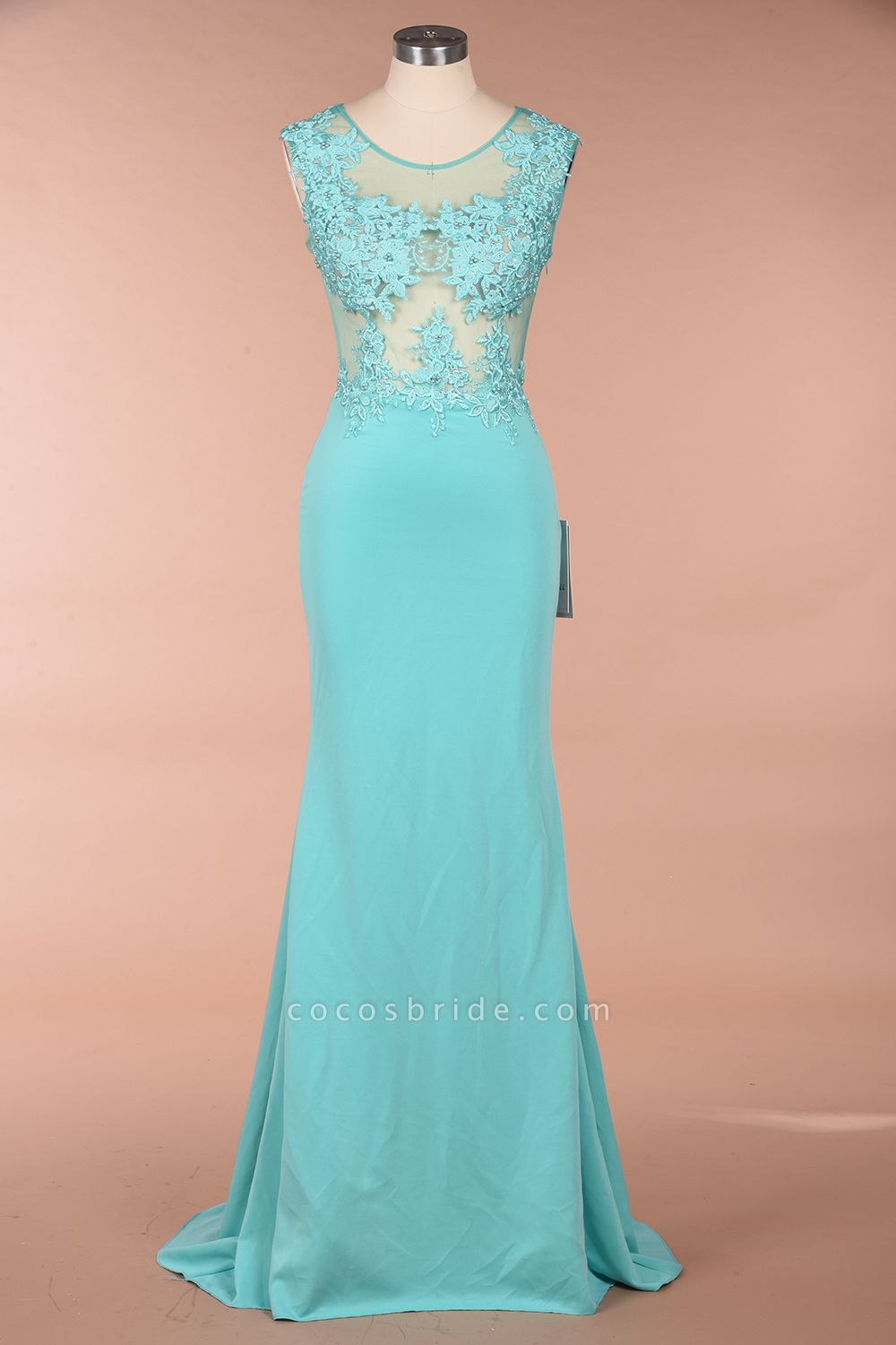 Lace appliques Mint Green Round Neck Cap sleeve Prom Dress