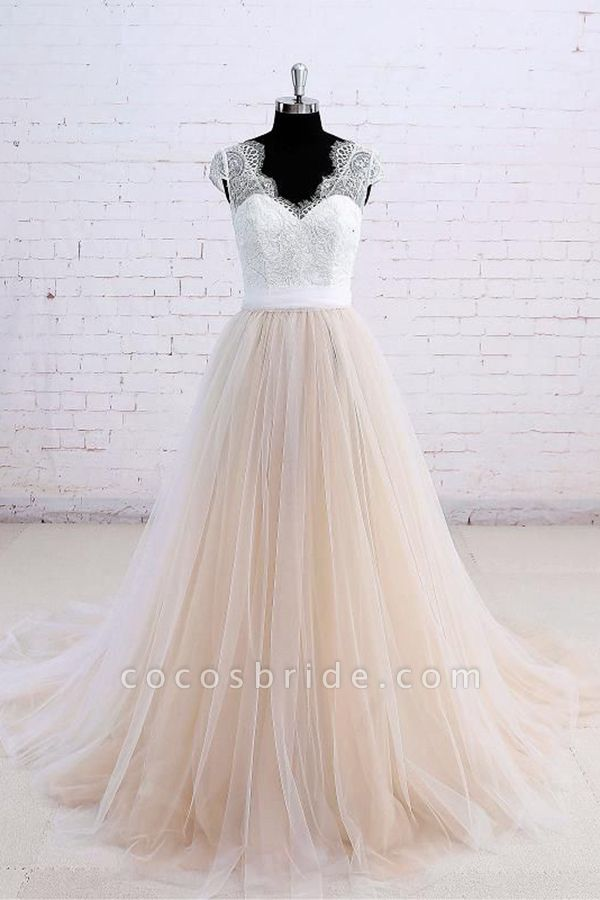 Cute Bow Lace V-neck Tulle A-line Wedding Dress