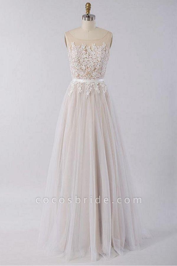 Floor Length Appliques A-line Tulle Wedding Dress