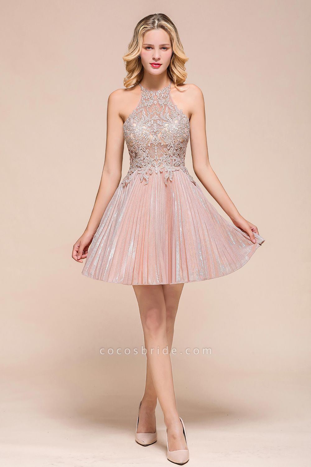 Cute Pleated Lace Appliques A-line Short Prom Dress
