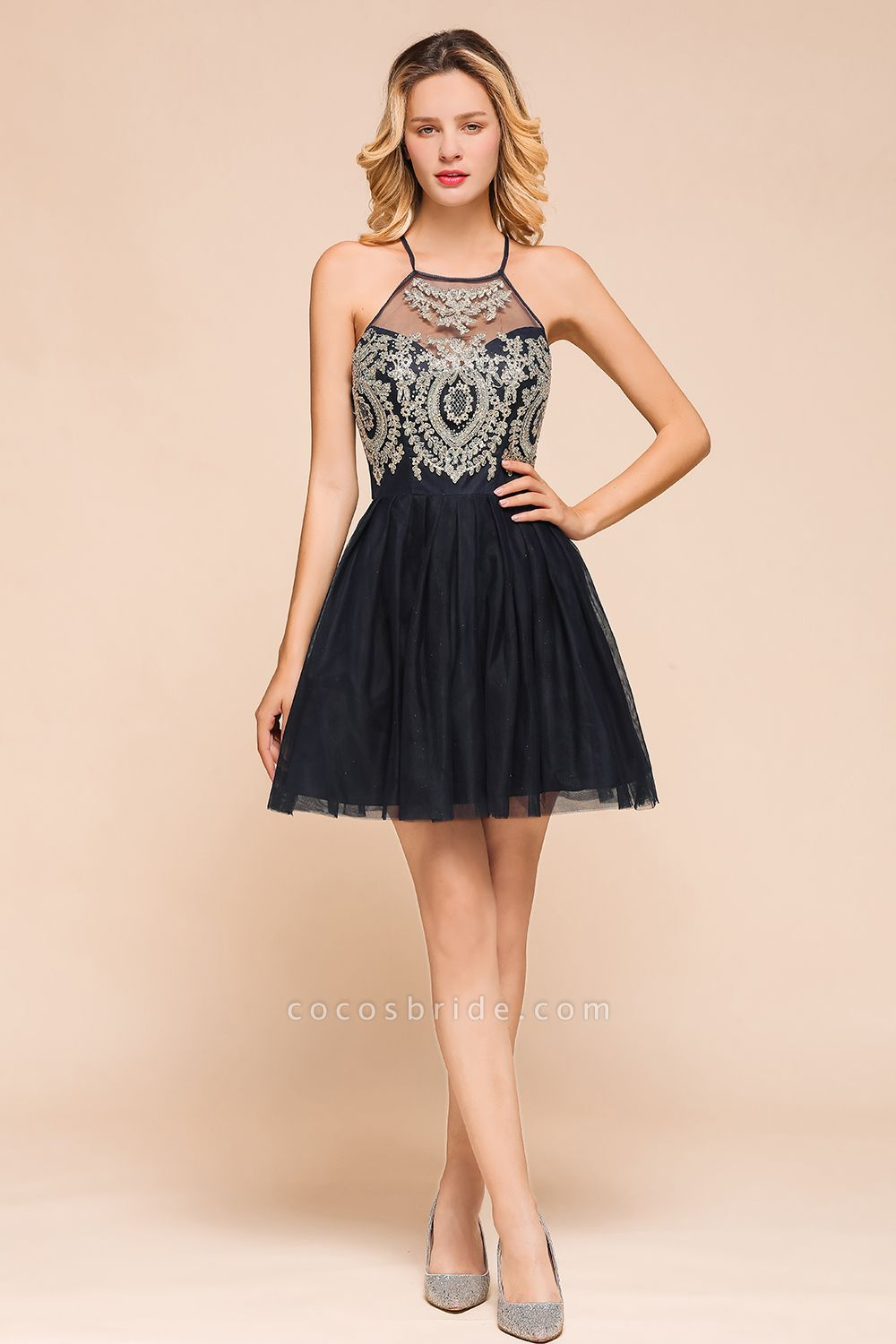 Sweet Halter Appliques Short A Line Prom Dress