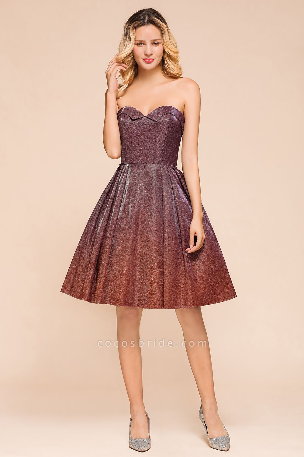 Ombre Sweetheart Backless Short A Line Prom Dress