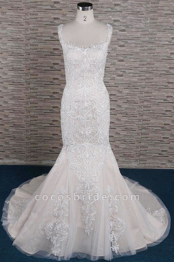 Sleek Square Neck Appliques Mermaid Wedding Dress