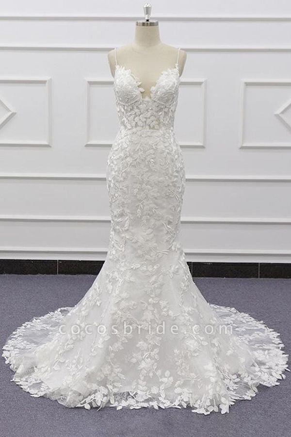 Best Spaghetti Strap Appliques Mermaid Wedding Dress