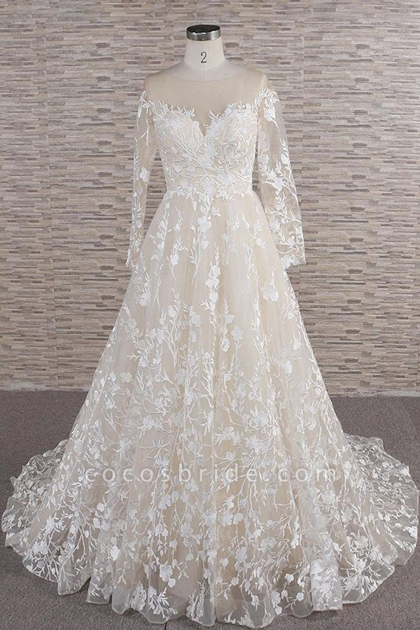 Illusion Long Sleeve Applqiues Tulle Wedding Dress