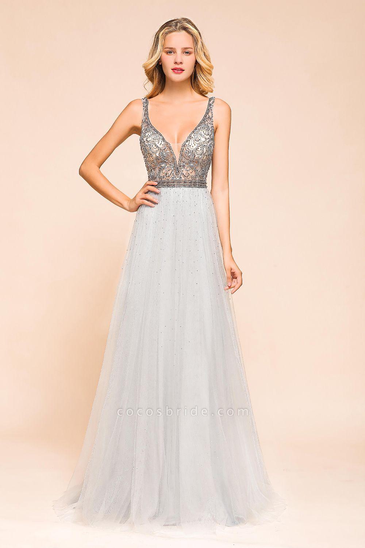 Latest Beading V-Neck Tulle Floor Length Prom Dress