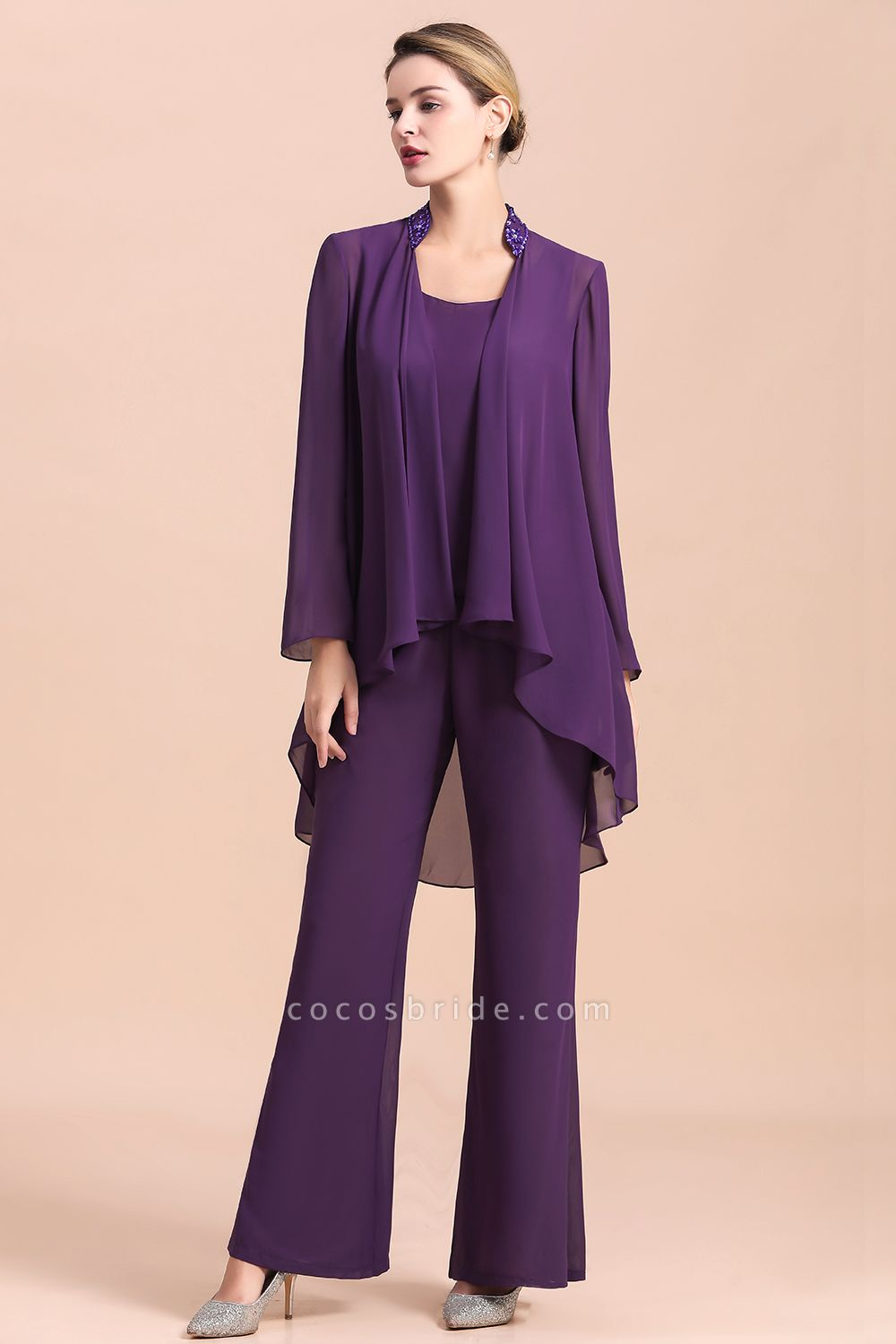Straps Beading Grape Chiffon Long Sleeve Mother of Bride Jumpsuit With Wrap