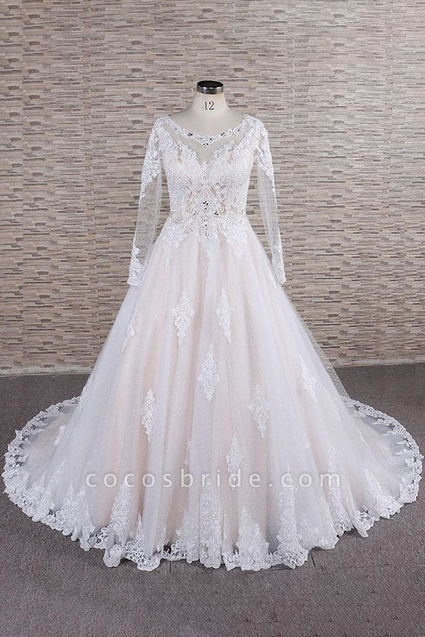 Illusion Appliques Long Sleeve Tulle Wedding Dress