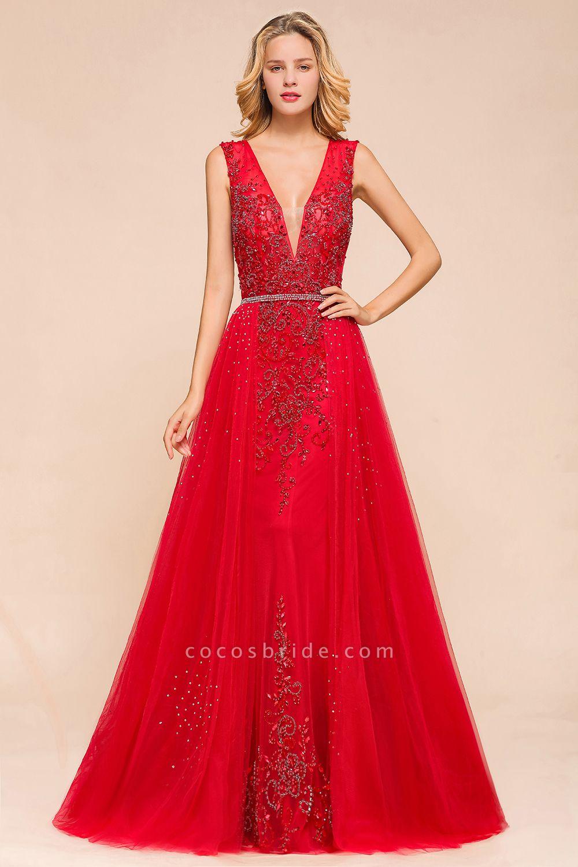Detachable Deep V-Neck Sleeveless Beadings Tulle Prom Dress