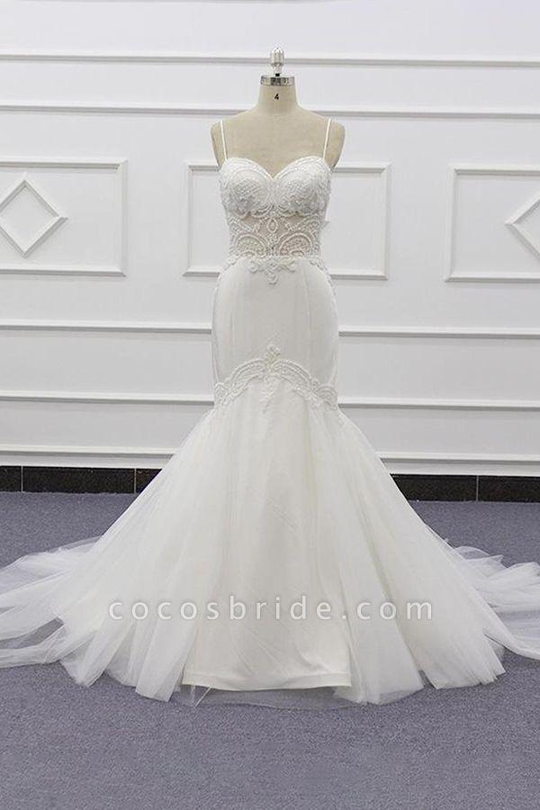 Chic Spaghetti Strap Beading Mermaid Wedding Dress