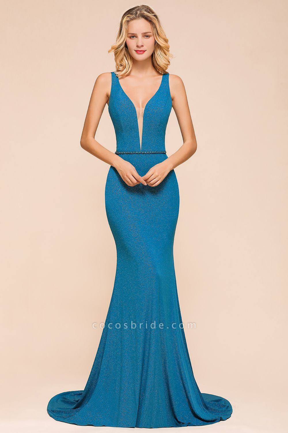 Elegant Open Back V-neck Long Mermaid Prom Dress
